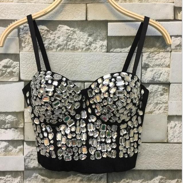 fd6af7c6ebd Hand-made Diamonds Pearls Bralet Corselets Women s Bustier Bra Cropped Top  Wedding Bralette Vest Plus