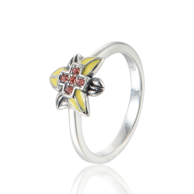 100% 925-Sterling-Silver Cross Rings With Yellow Enamel & Cubic Zirconia Fashion Jewelry Wedding Rings For Women Free Shipping