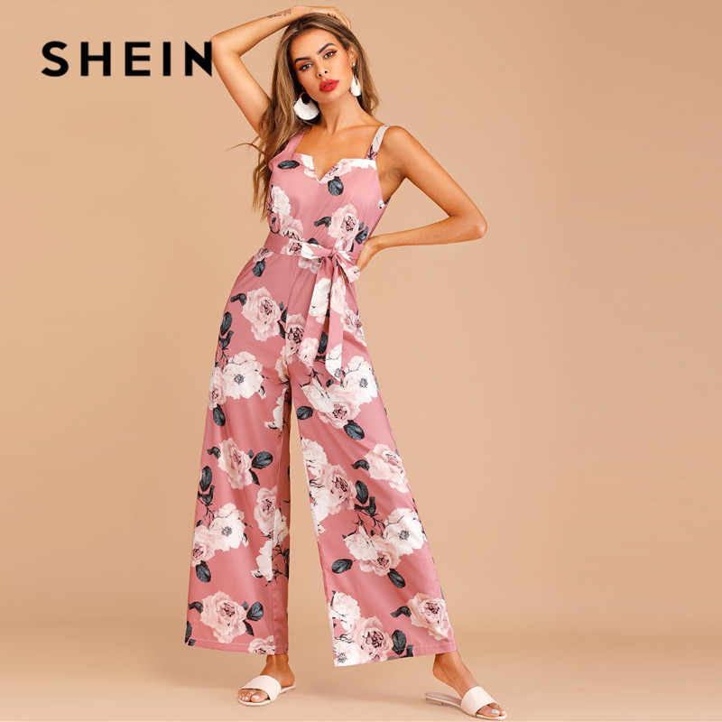 SHEIN Boho Floral Print Zip Back Belted Summer Jumpsuit Women Sleeveless Loose High Waist Wide Leg Jumpsuit Ladies Pink Jumpsuit
