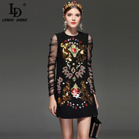 LD LINDA DELLA New 2018 Designer Runway Dress Women S Lace Long Sleeve Luxury Embroidery Crystal