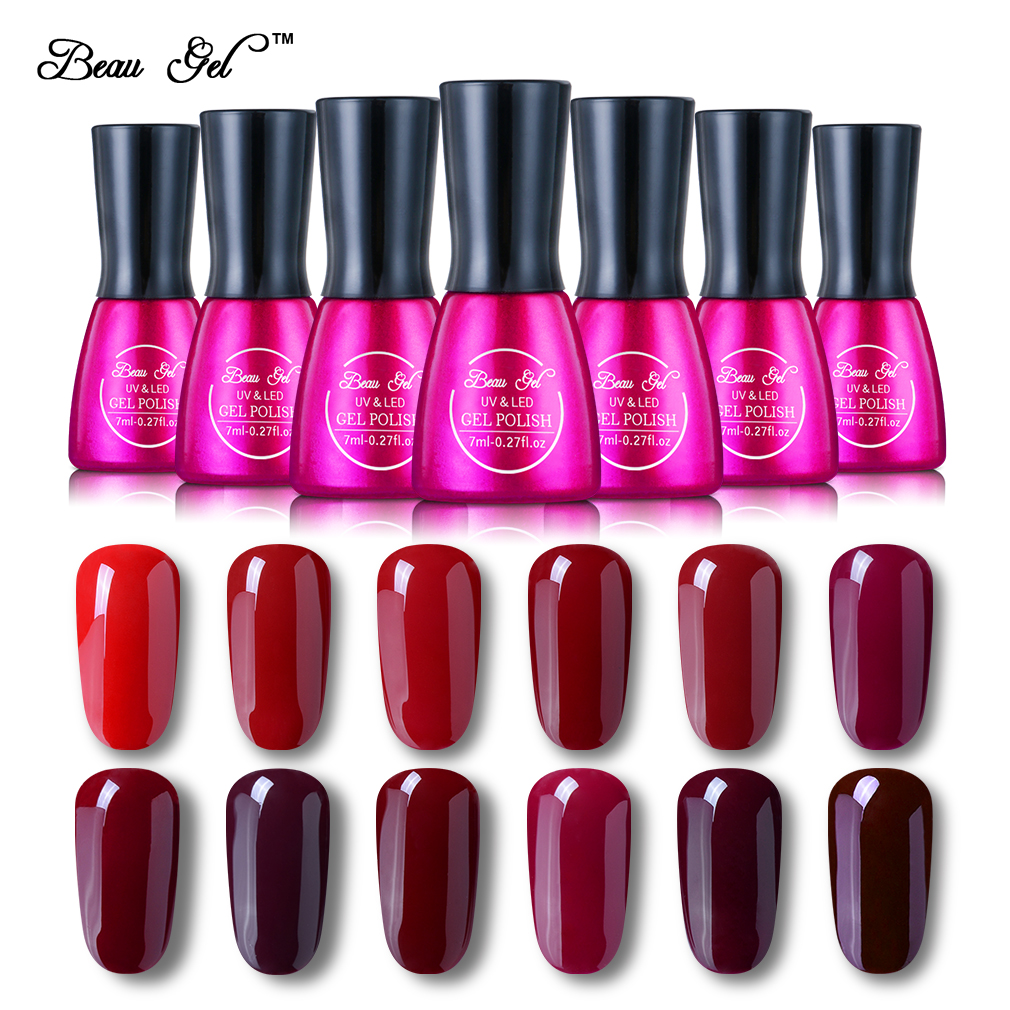 Beau Gel 12 Sexy Wijnrood Colosr 7 ml / pc UV Gel Polish Losweken Gel Lak Nagels Pure Kleur Nagellak Voor Nail Art Ontwerp