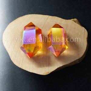 Image 5 - WT G148 Gogerous mix farbe aqua aura quarz stein weise doppelseitige aura punkt doppel zauberstab kristall punkt stein für großhandel
