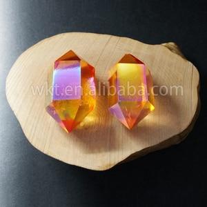 Image 5 - WT G148 Tehlikeli mix renk aqua aura kuvars taş moda çift taraflı aura noktası çift değnek kristal noktası taş toptan için
