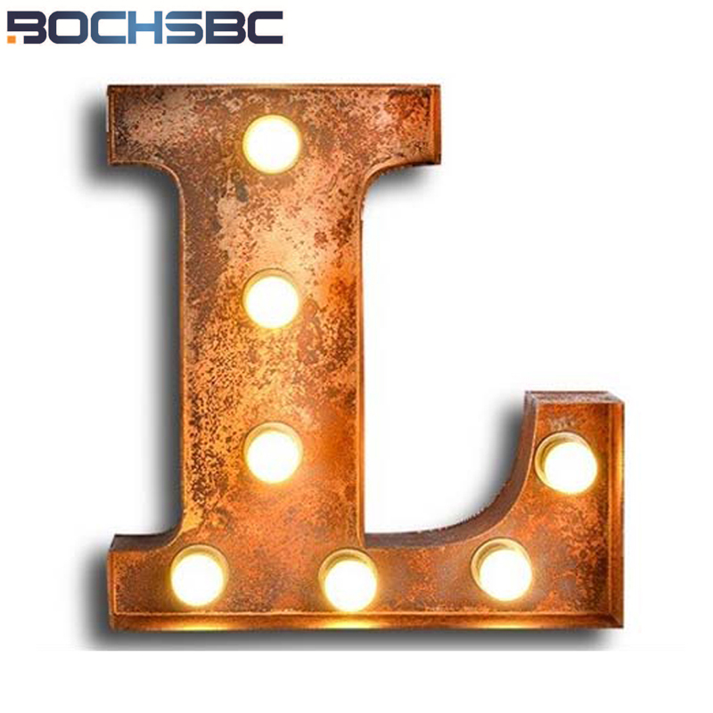 BOCHSBC Art Deco Metal Letter L Lamps for Bar Cafe Living Room Dinning Room Vintage Loft Wall Sconce Lights Lompara de pared