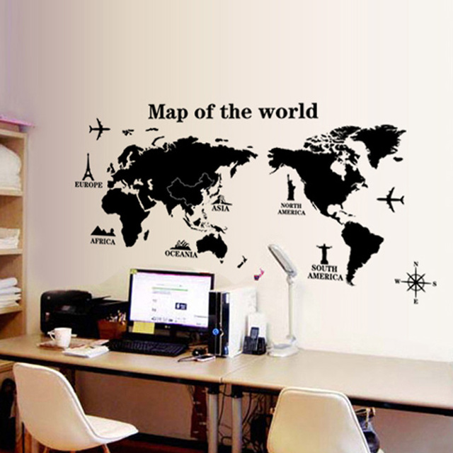 Wall Stickers Wallpaper World Map A Variety Of Wall Poster Bedroom Cozy  Living Room Wall