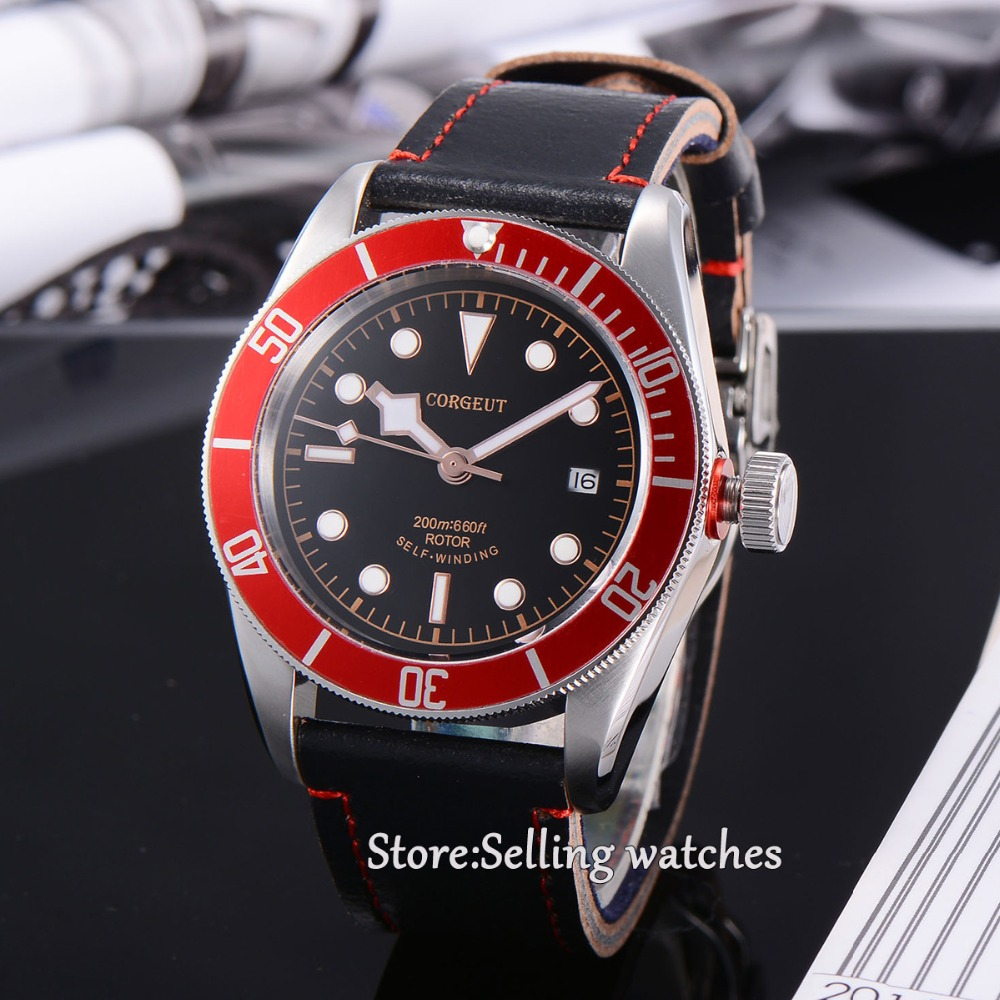 41mm corgeut black dial red bezel miyota Automatic movement diving mens watch  41mm corgeut black dial red bezel 21 jewels miyota automatic diving mens watch