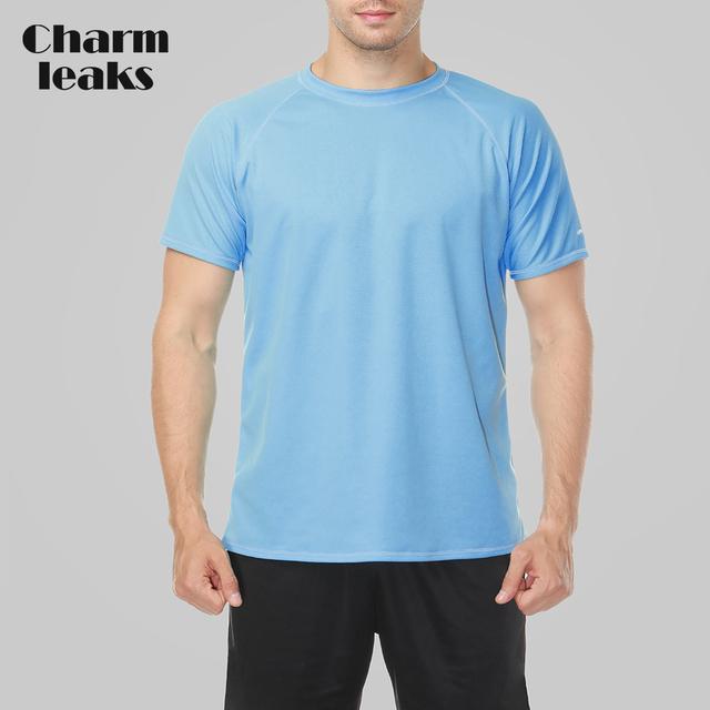 Charmleaks Men Rashguard Swimsuit Shirts Men Solid Color Swimwear UV-Protection Rash Guard UPF 50+ Beach Wear