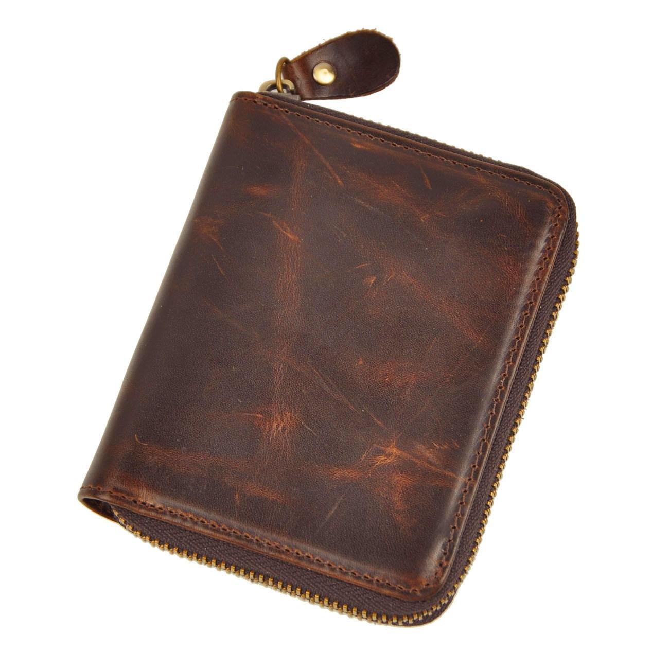 Mens' Zipper Genuine Tan Leather Wallet Male Cowhide Coin Purse Vintage Short Wallet for Men(lots of pockets) kiniki sancho mens tan through swim micro mens
