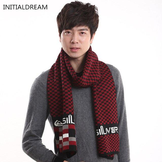 cc253e5603c2d New Style Autumn Winter Fashions Men Scarf Plaid Striped Patchwork Knitting  Warm Scarves Brand echarpes pashmina bufanda NWJ050