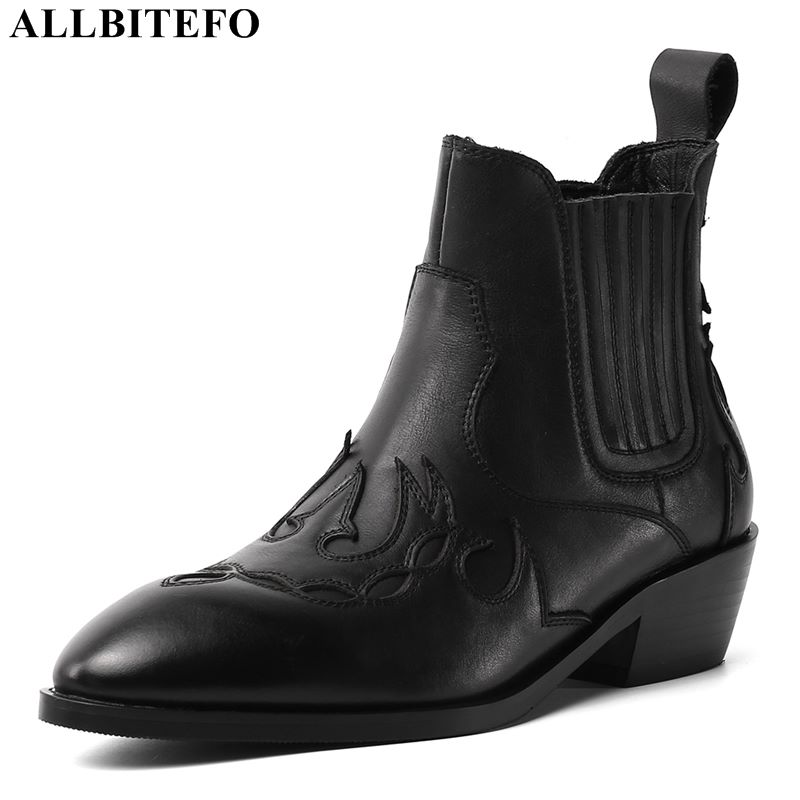 Allbitefo 정품 가죽 두꺼운 뒤꿈치 여성 부츠 하이힐 부츠 여자 부츠 겨울 신발 편안한 통기성 발목 부츠-에서앵클 부츠부터 신발 의  그룹 1