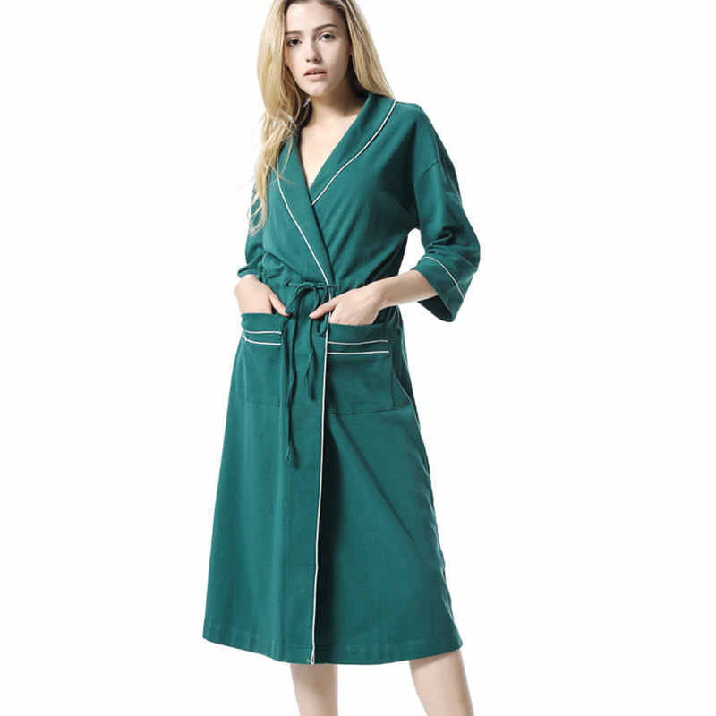3468c279674a ... Autumn Sleepwear Robe Female Green Nightgown Ladies Women Bathrobe  Winter Kimono Night Wear Robe Gown Long ...