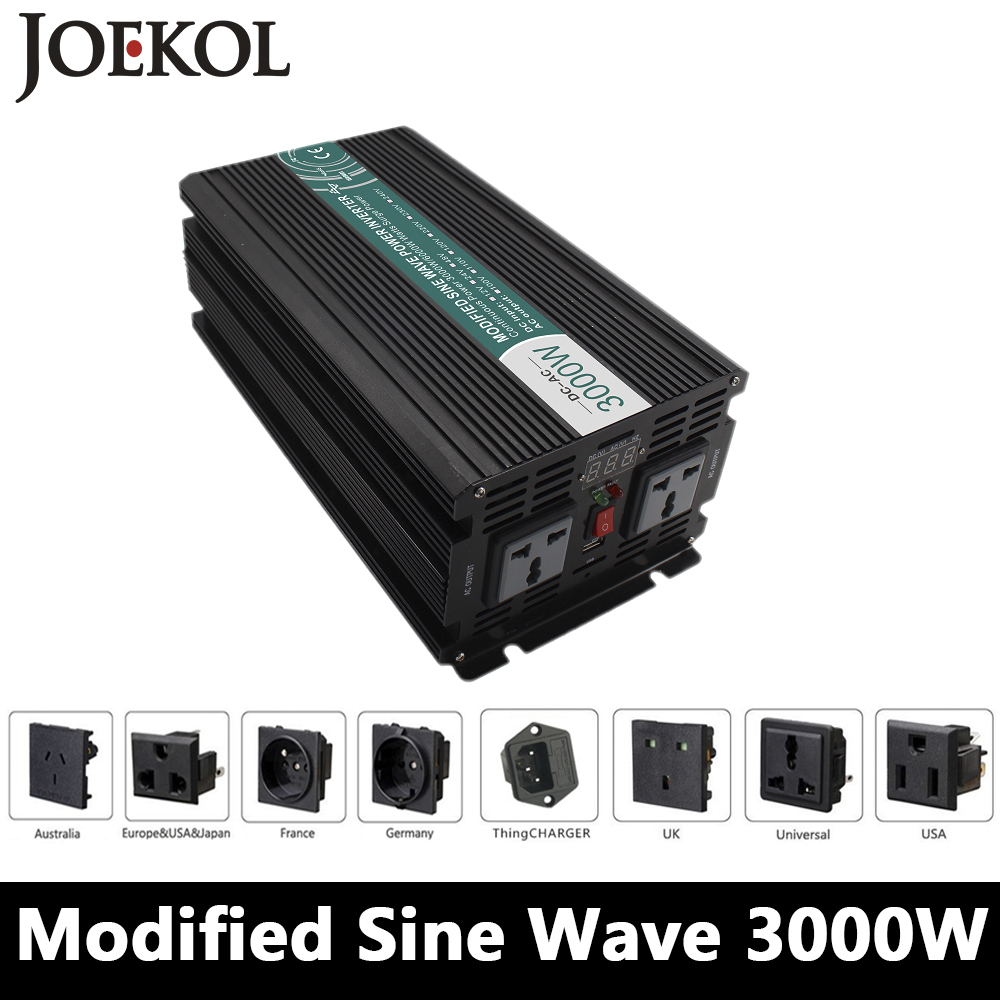 3000W Modified Sine Wave Inverter,DC 12V/24V/48V To AC 110V/220V,off Grid Solar Power Inverter,voltage converter work Battery free shipping 600w wind grid tie inverter with lcd data for 12v 24v ac wind turbine 90 260vac no need controller and battery