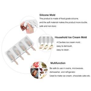Image 4 - 食品安全シリコーンアイスクリーム金型4携帯冷凍アイスキューブ金型アイスキャンデーメーカーdiy自家製冷凍庫アイスキャンディー型