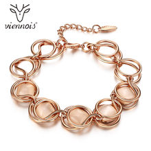 Viennois Sweet Rose Gold Color Circles Chain Bracelets for Women Opal Stone Round Bracelet & Bangles Female Romantic Jewelry(China)