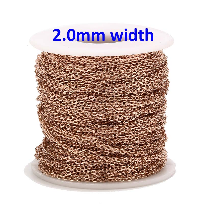 9 Meters Rose Gold Color Stainless Steel Cable Link Chains 2MM For DIY Necklace Jewelry Making Craft By Meters