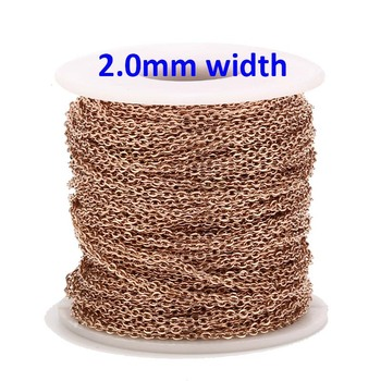 9 Meters Rose Gold Color Stainless Steel Cable Link Chains 2MM for DIY Necklace Jewelry Making Craft By  цена 2017