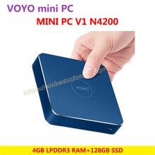 VOYO vmac мини-ПК Intel Apollo N4200 лицензии Windows 10 Pocket PC 4 ГБ DDR3L оперативной памяти + 128 ГБ SSD 3 * USB3.0 4 К выход HD