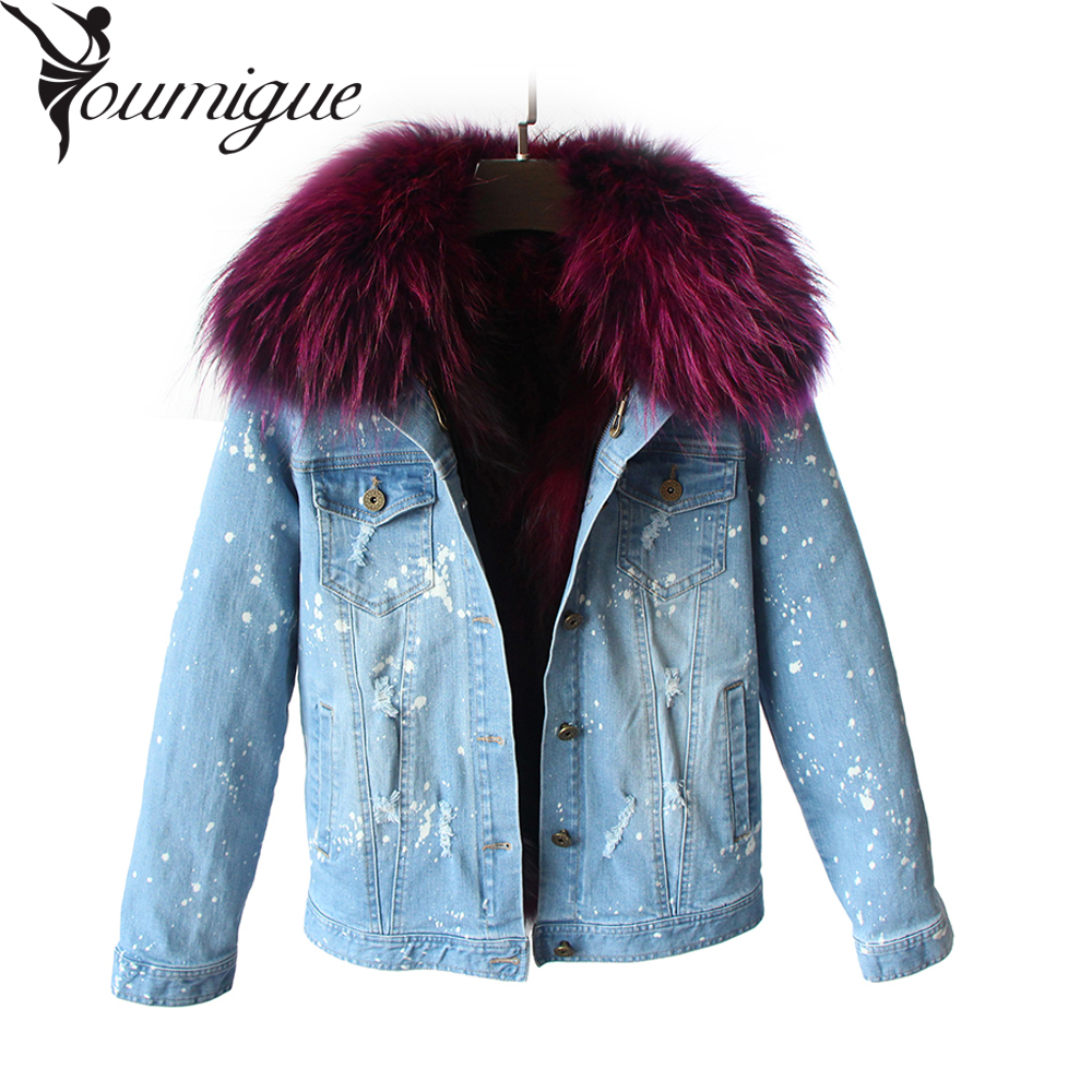 YOUMIGUE New Arrival Large Raccoon Fur Collar Women Winter Coat Jacket Denim Luxury Fox Fur Lining