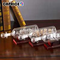 Envío en botella de vidrio botellas decorativas adornos de barco madera artesanía habitación Hogar Decoración Accesorios grabado gratis BLPLP-FC