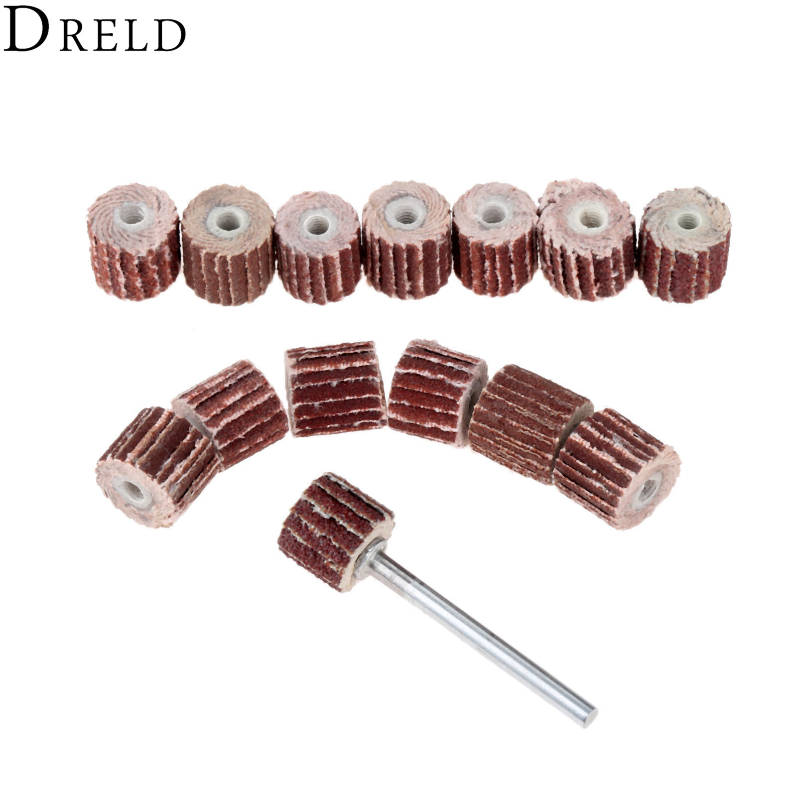 DRELD 10Pcs Dremel Accessories 10mm Sanding Flap Wheel Disc Grinding Flap Wheels Brush For Rotary Tool With Mandrel 3mm Shank
