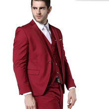 Stylish men suits elegant gentleman groom suit tuxedos custom made red lapel one button wedding suits