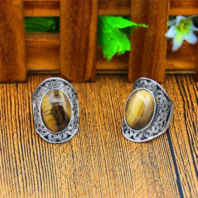 Oval Natural Tiger Eye Stone Rings For Women Vintage Flower Design Antique Silver Plated Fashion Jewelry