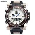 2016 de lujo boamigo marca hombres deportes militares relojes de hora dual digital de cuarzo banda de goma reloj de pulsera relogio masculino