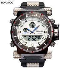 2016 luxury BOAMIGO brand Men military sports watches Dual Time Quartz Digital Watch rubber band wristwatches relogio masculino