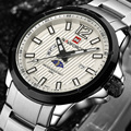 Men Watch Men's Casual Brand Sport Watches Quartz Men Stainless Steel Moon Phase Hour Clock Military Watch relogio masculino