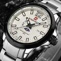 Homens Relógio Marca Esporte Ocasional dos homens Relógios de Quartzo Homens de Aço Inoxidável Relógio de Fase Da Lua Horas Relógio Militar relogio masculino