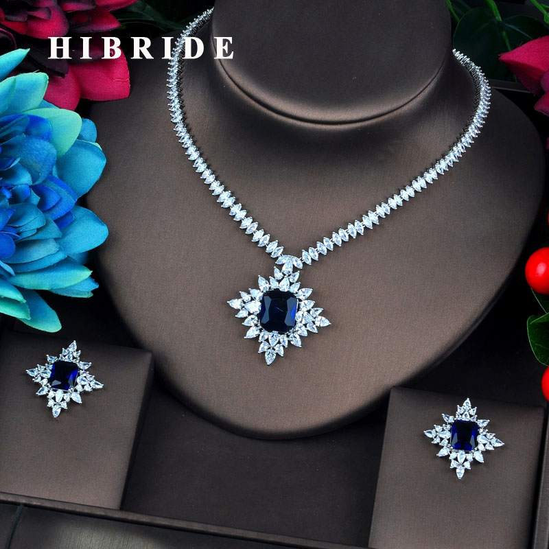 HIBRIDE New Arrival Blue Cubic Zircon Dubai Bridal Jewelry Sets For Women Wedding Accessories Fashion Jewelry