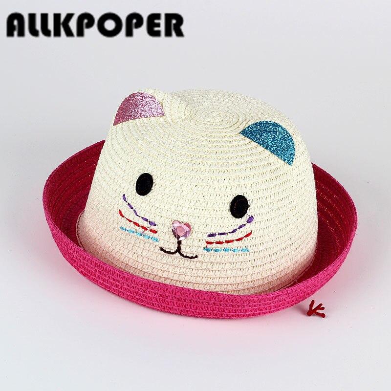 ALLKPOPER Wholesale new hat cap summer child cat ears ear decoration cute beach hat girl girl boy sun hats Beanies