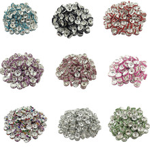 LNRRABC New! 5AAA+ Quality 50 piece/lot Cheap Handmade Rhinestone Loose Crystal alloy Rondelle Spacer Beads LIF
