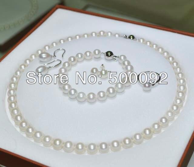 Fine 5 pièces 7.5-8mm blanc perle d'eau douce bague Bracelet collier Dangle et goujons boucle d'oreille