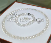 fine 5 pieces 7.5 8mm white freshwater pearl ring Bracelet Necklace Dangle and Studs Earring