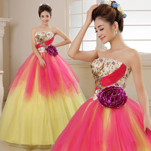 Free ship yellow pink pleated beading ball gown long dress Medieval dress Renaissance gown royal dress Victoria dress