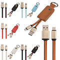 Free 200pcs/lot Micro V8 Aluminum alloy Leather Key chain usb data charger cable cord line for samsung s4 s6 s7 htc blackberry