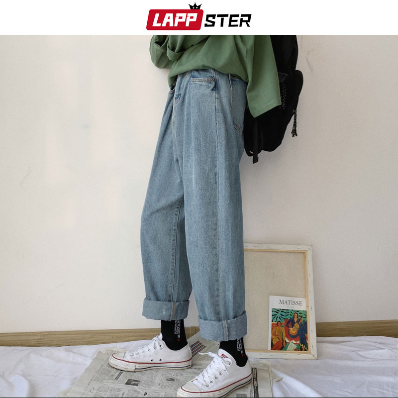 LAPPSTER Straight Blue Jeans Men 2019 Mens Harajuku Streetwear Vintage Denim Pants Male Korean Fashions Harem Pants Regular Fit