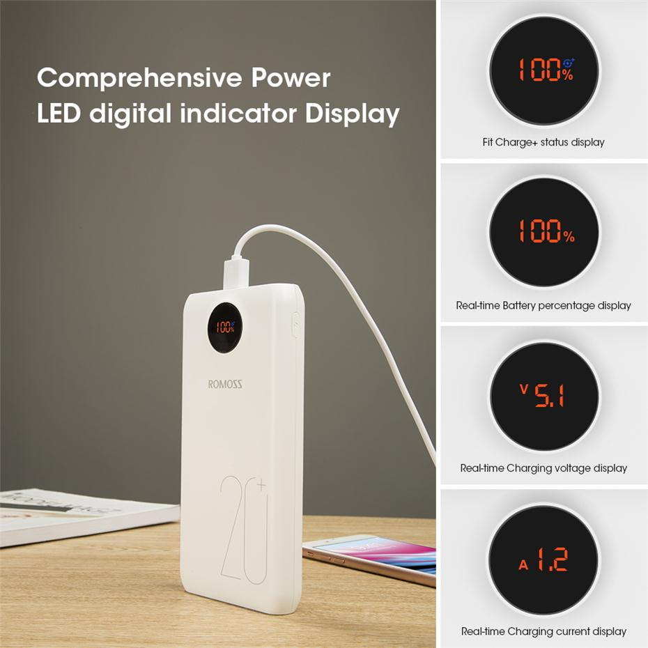 20000mAh ROMOSS SW Pro Portable Power Bank Charger External Battery QC3.0 Fast Charging With LED Display For Phones Tablet 11