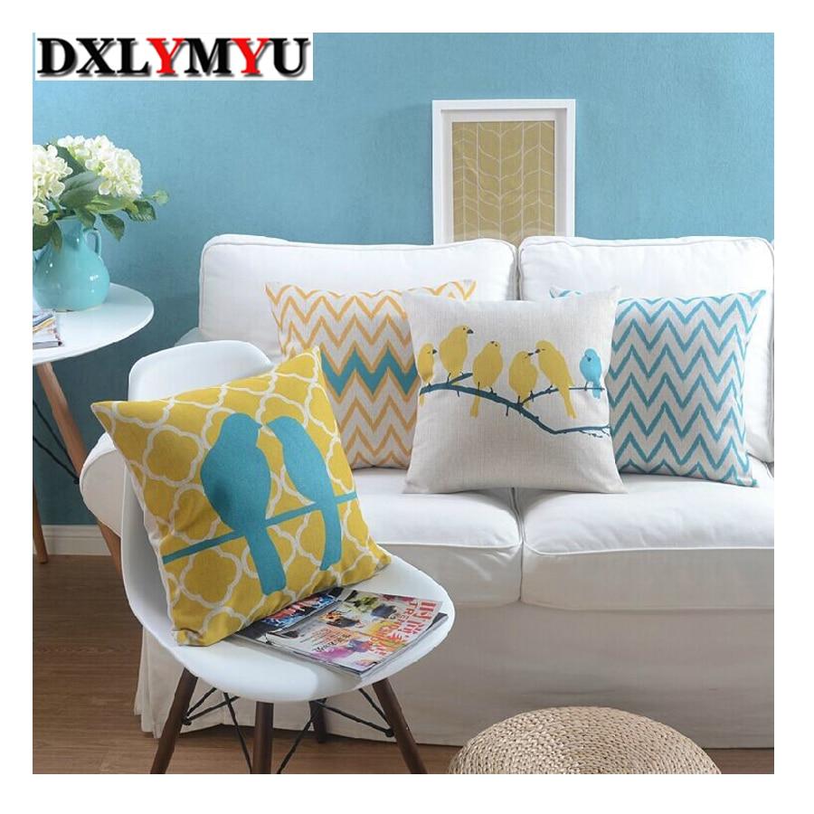 Bantal pola burung lucu dicetak bantal kursi mobil, Bantal dekoratif - Tekstil rumah