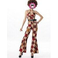 Sexy Free shipping New 2016 Ladies 80s Retro Hippie Go Go Girl Disco Costume Fancy Dress Hen Xmas Party Costumes
