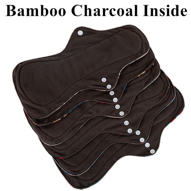 [simfamily]6Pcs ( 5+1Set )Heavy Flow Menstrual Pads Set Resualable Bamboo Charcoal  Mum Cloth Pads Night Use