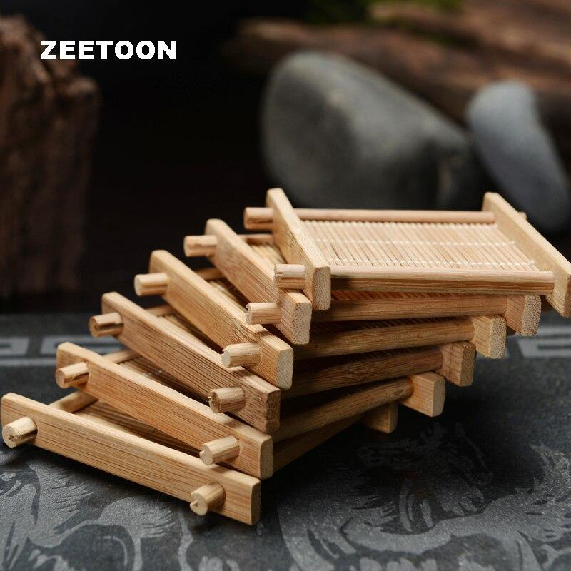 6PCS Set Japanese Vintage Bamboo Kung Fu Tea Set Tea Cup Mats Accessories Bamboo Coaster Cup Holder Teacup Trays Tic-Tac-coaster
