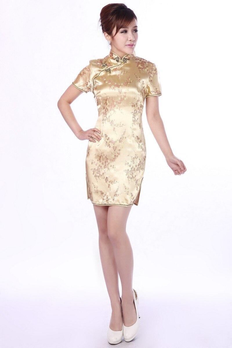 Tang Show traditional Chinese Women's silk Satin Short Qipao Cheong-sam Evening Dress Plus size 4XL 5XL 6XL