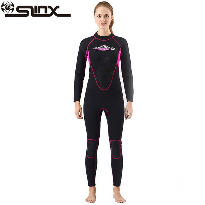 SLINX 3mm Neoprene Women Scuba Diving Suit Kite Surfing Snorkeling Spear Fishing Boating Windsurfing Swimwear Wetsuit slinx men women 1109 5mm neoprene fleece lining warm jacket wetsuit kite surfing windsurfing swimwear boating scuba diving suit