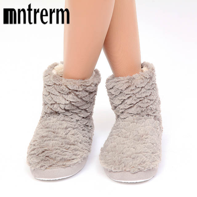 Mntrerm 2018 Female Soft Home Slippers Lined With Cotton Cloth Plush Women Indoor Home Slippers Warm Casual Long Tube Slippers