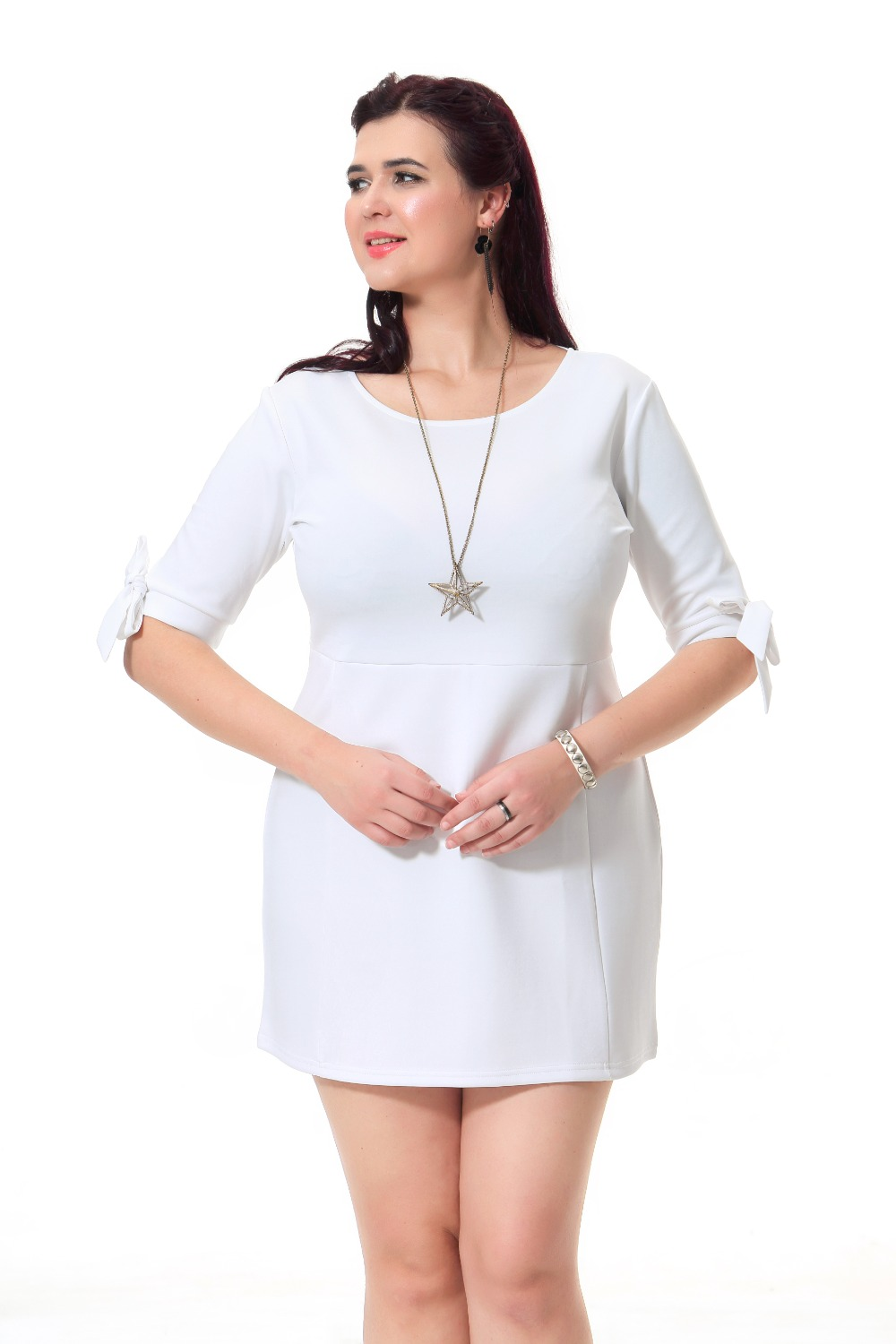 US $18.18  6 Colors Plus Size Skater Dresses For Women With Bow Sleeve Cute  Party Dress Summer 3xl 7xl White Black Blue Red Navy purple 41 -in Dresses  ...