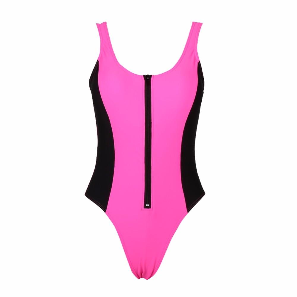 Sexy one-piece sports swimsuit with zipper tight body ladies bikini suit sexy body