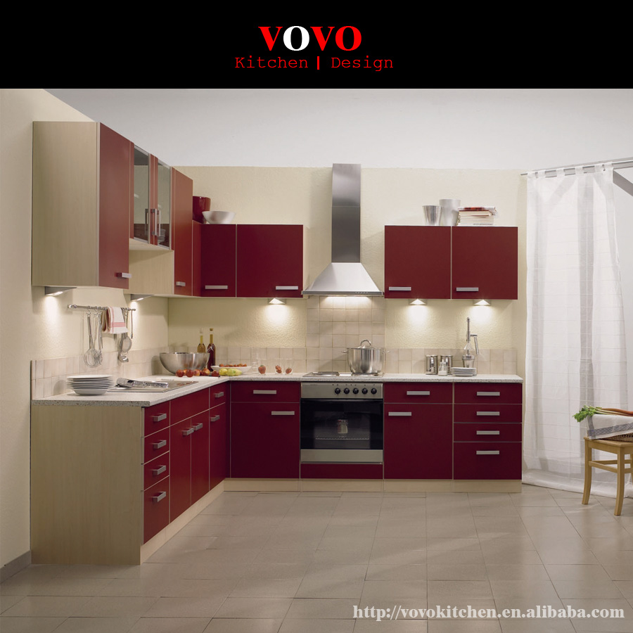 High gloss modern kitchen cabinets red color-in Kitchen ...