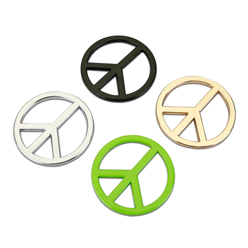Car Sticker Emblem Badge Peace Logo Metal 4 Colors Tuning Auto Motorcycle Car Styling Accessories customized badge holder lanyard company logo print personalized lanyard printing badge accessories